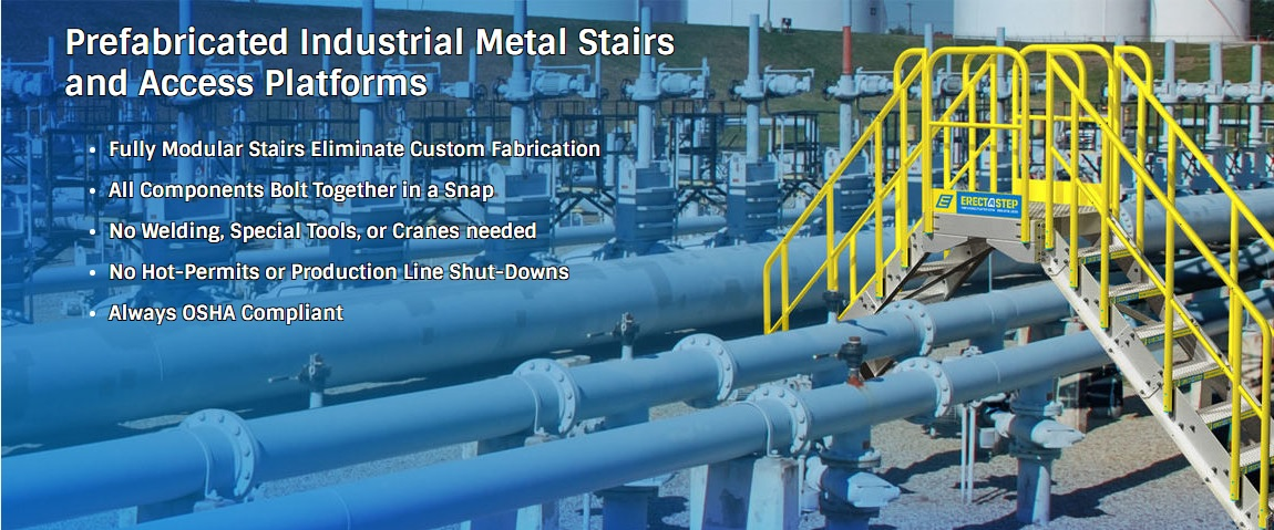 erect a step prefabricated industrial metal stairs. Fully modular and OSHA compliant