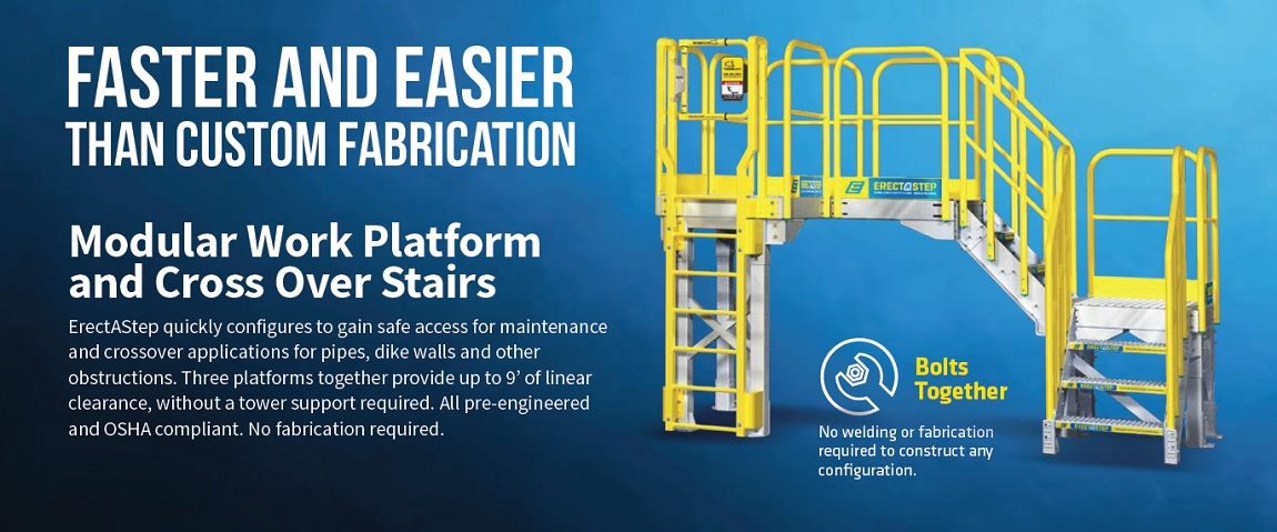 erect a step modular work platforms and cross over stairs. Safe maintenance access and OSHA compliant