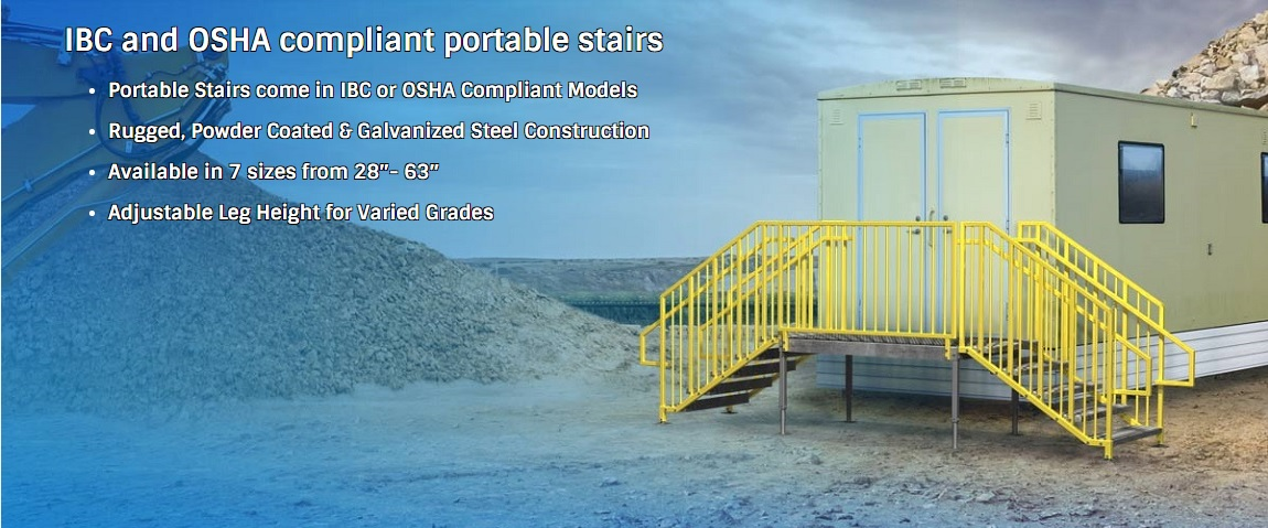 erectastep portable metal stairs adjustable legs IBC or OSHA compliant